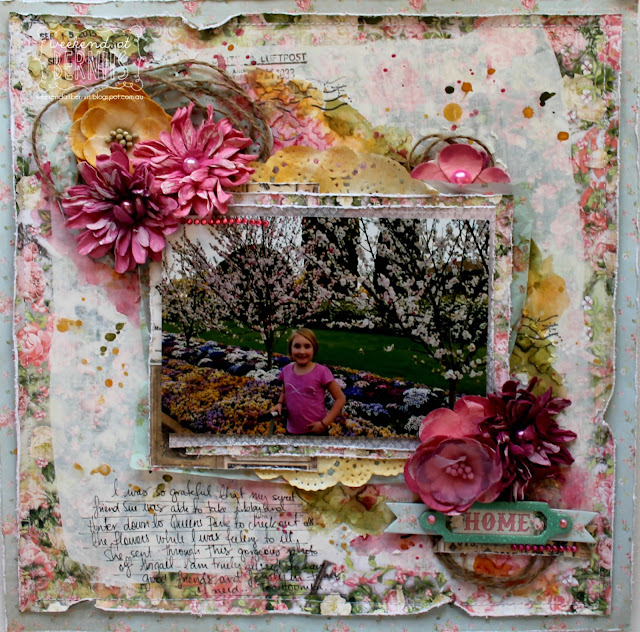 """Home"" layout by Bernii Miller for BoBunny using the Soiree collection and decoupage paper."