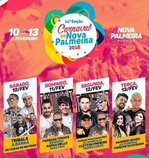 Divulgada programação do Carnaval 2018 de Nova Palmeira