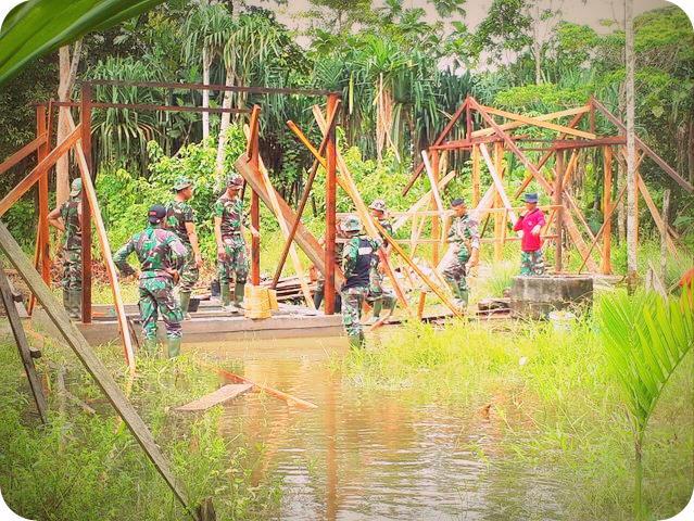 Meski Mimika Banjir, TMMD di Kampung Bhintuka Terap Berjalan