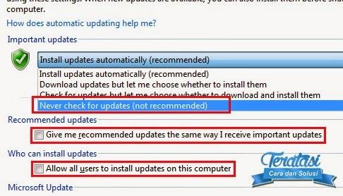 important updates - cara menonaktifkan auto update di windows 7