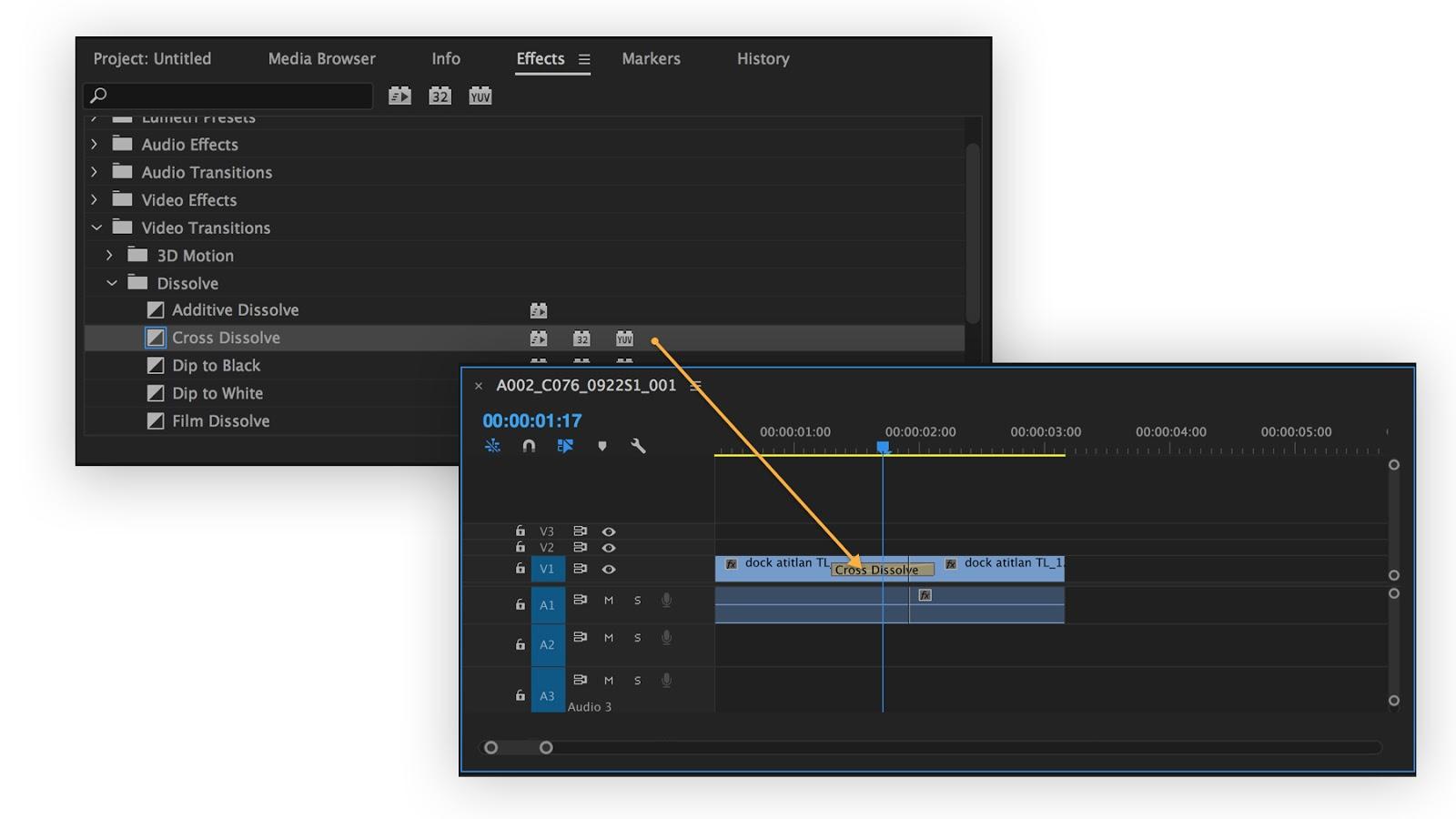 Thêm hiệu ứng chuyển giữa hai clip trong dự án