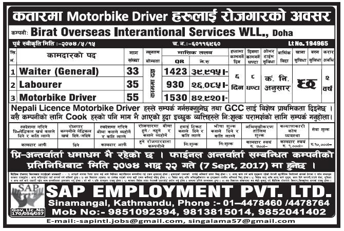Jobs in Qatar for Nepali, Salary Rs 42,920