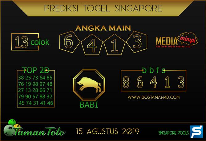 Prediksi Togel SINGAPORE TAMAN TOTO 15 AGUSTUS 2019