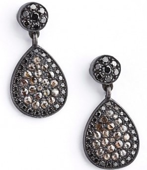 Anil Arjanadas Oxidized Teardrop Earrings