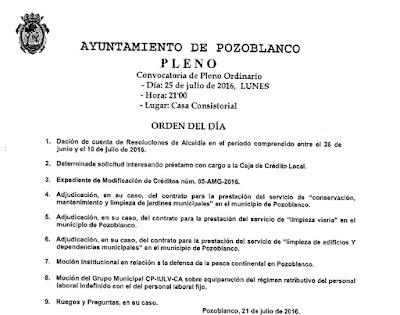 Ayuntamiento de Pozoblanco, politica municipal