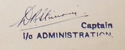 Signature of Capt. D.B. Stimson  (National Archives KV files)