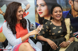 Actress Suma in Black Salwar Suit and Anusuya in orange Dress at winner movie press meet part 2 February 2017 (45).JPG
