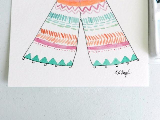 Boho Watercolor Teepee by Elise Engh
