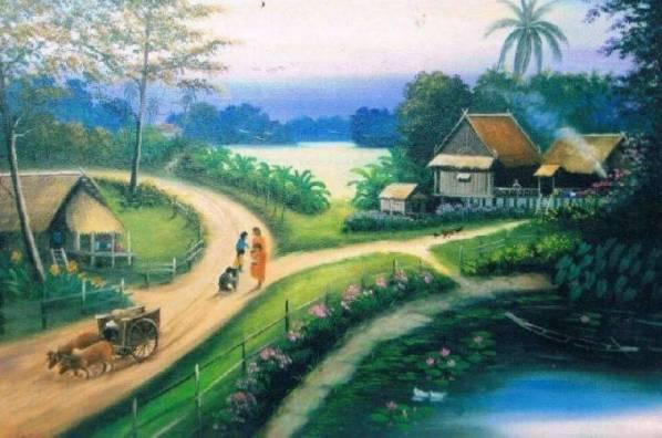 Nostalgia Lukisan Pemandangan Sawah Era 90an Kenangan Masa kecil Dulu