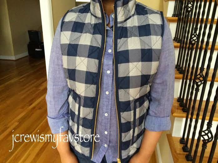 J Crew Factory Novelty Quilted Puffer Vest Buffalo Blue