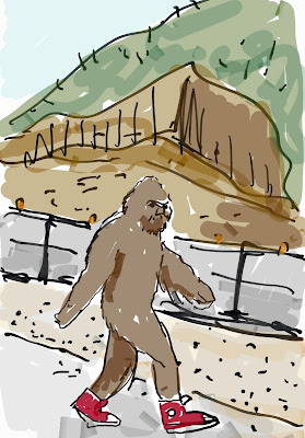 drawing of Sasquatch strolling along the Mopac freeway in Austin. copyright 2016 by David Borden.