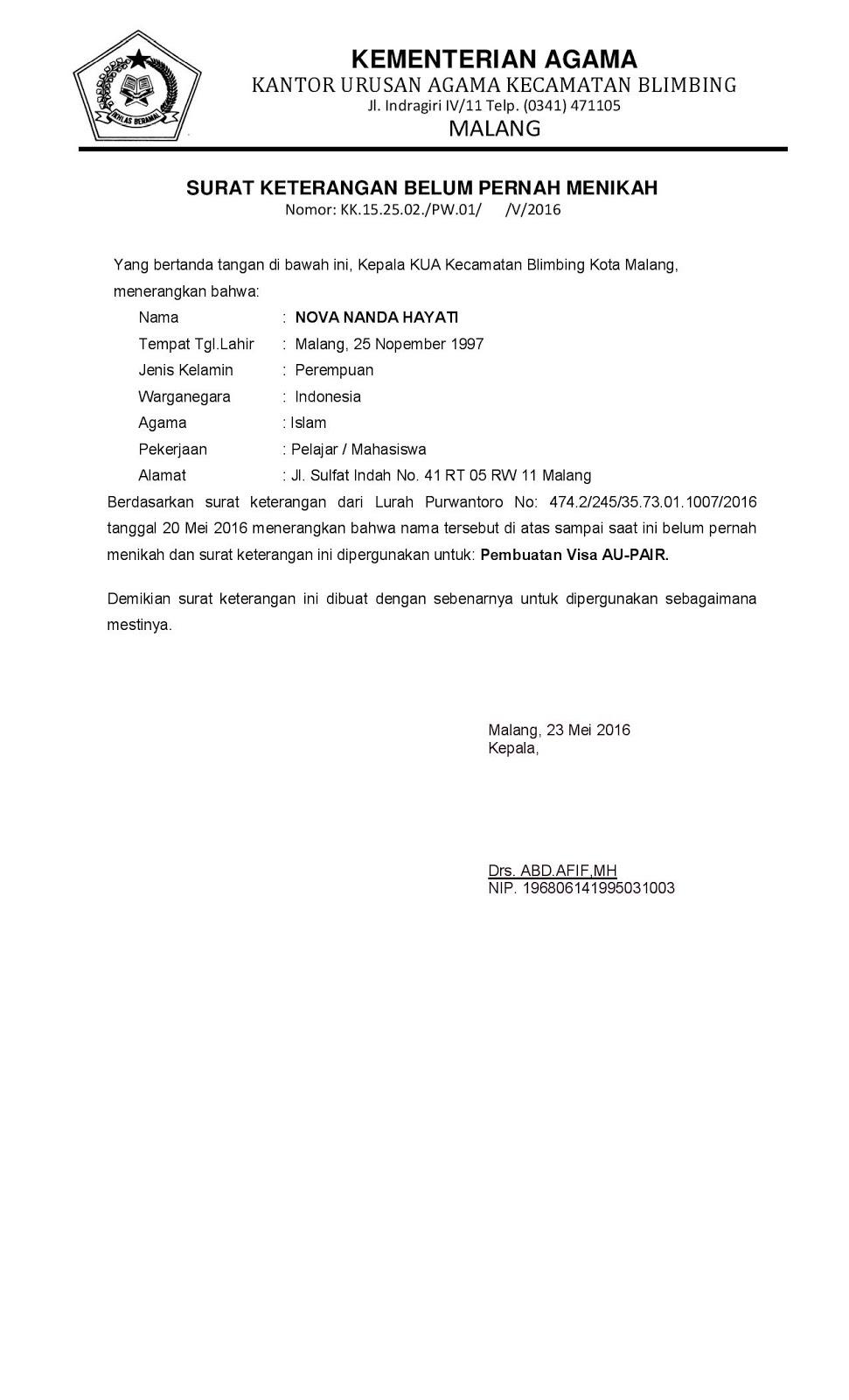 Contoh: Surat Keterangan Belum Menikah dari KUA - KUA ...