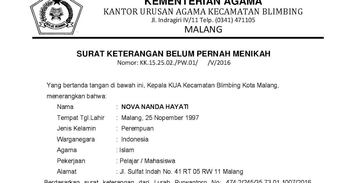 Contoh: Surat Keterangan Belum Menikah dari KUA - KUA