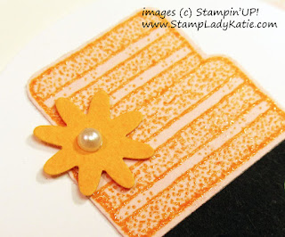 "Closeup of the heat embossed cake, card made with Stampin'UP!'s ""Piece of Cake"" stamp set and ""Cake Builder"" Punch by StampLadyKatie"