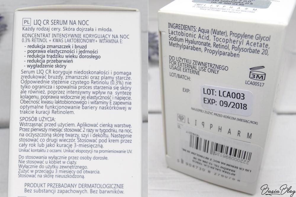 Liqpharm, LIQ CR, serum z retinolem, LIQ CR serum na noc. Koncentrat intensywnie korygujący na noc 0.3% retinol + kwas laktobionowy + witamina E
