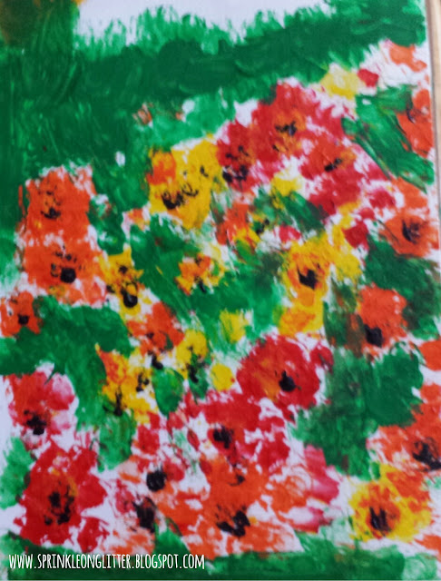 31 days of flowers- finger painting- write 31 days