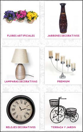 Flores artificiales, jarrones decorativos, lámparas, relojes, terraza y jardín