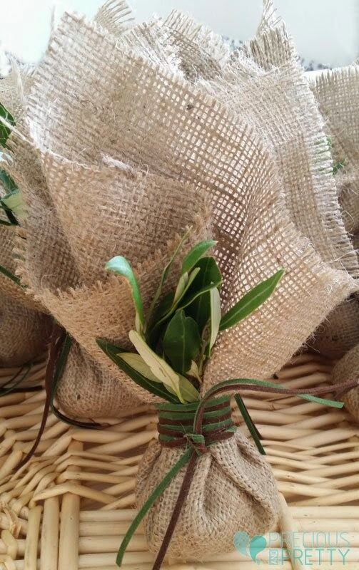Wedding favors with burlap made in Greece