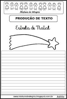 Produção de texto estrela de natal