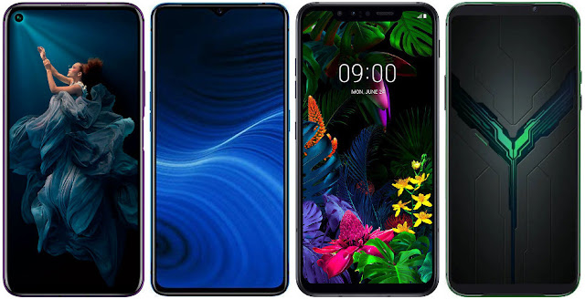 Honor 20 Pro vs Realme X2 Pro 128 GB vs LG G8 Smart Green Thinq vs Xiaomi Black Shark 2