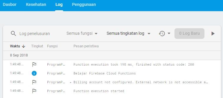 Screenshot log aktiftas pada Cloud Functions