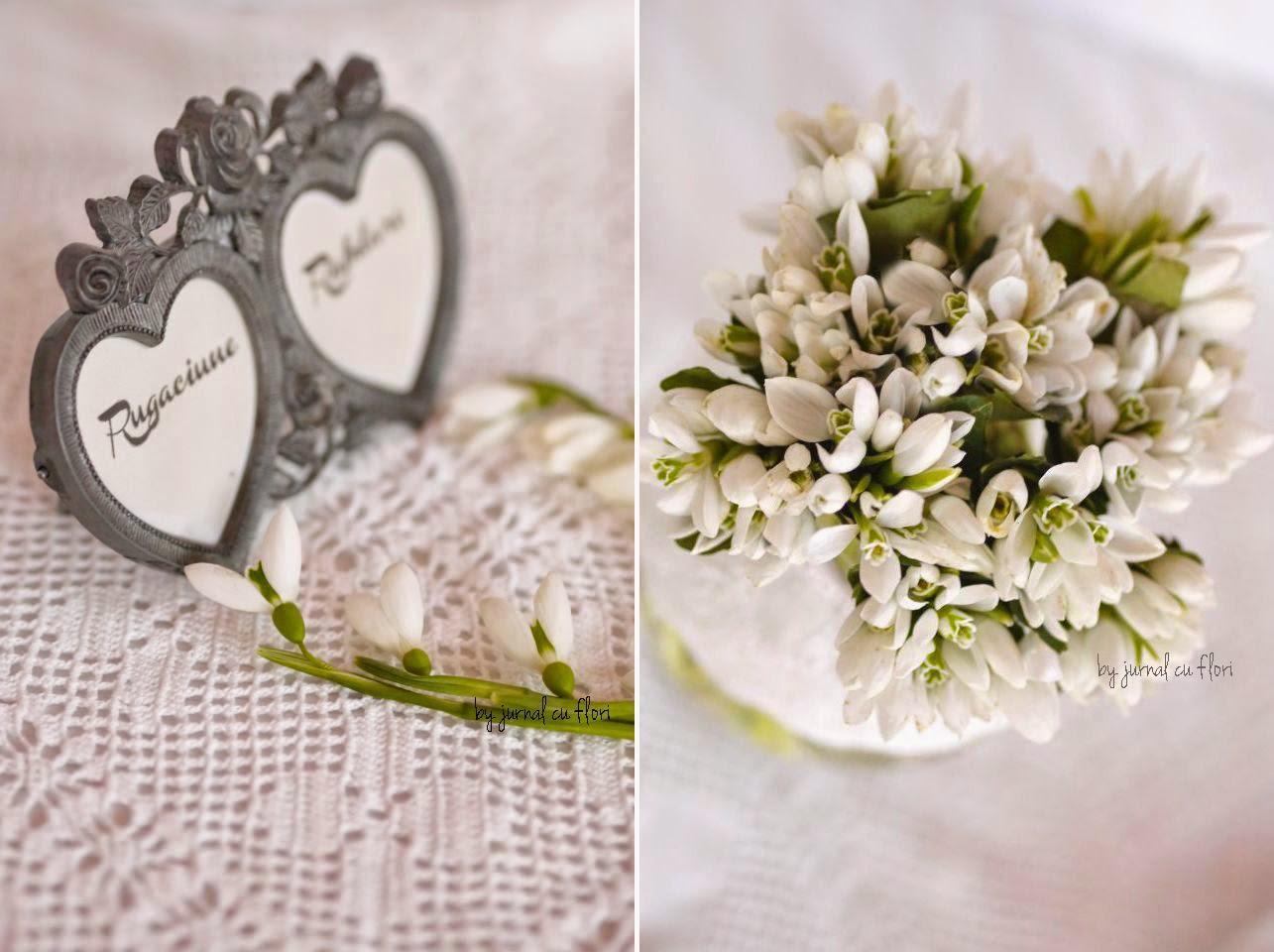 buchet de ghiocei rama cu mesaj rugaciune rabdare inima din flori