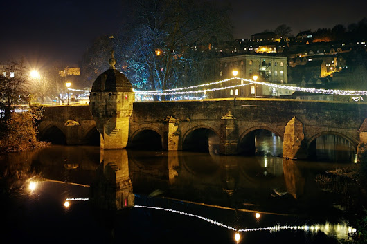 Bradford on Avon Christmas Lights at night