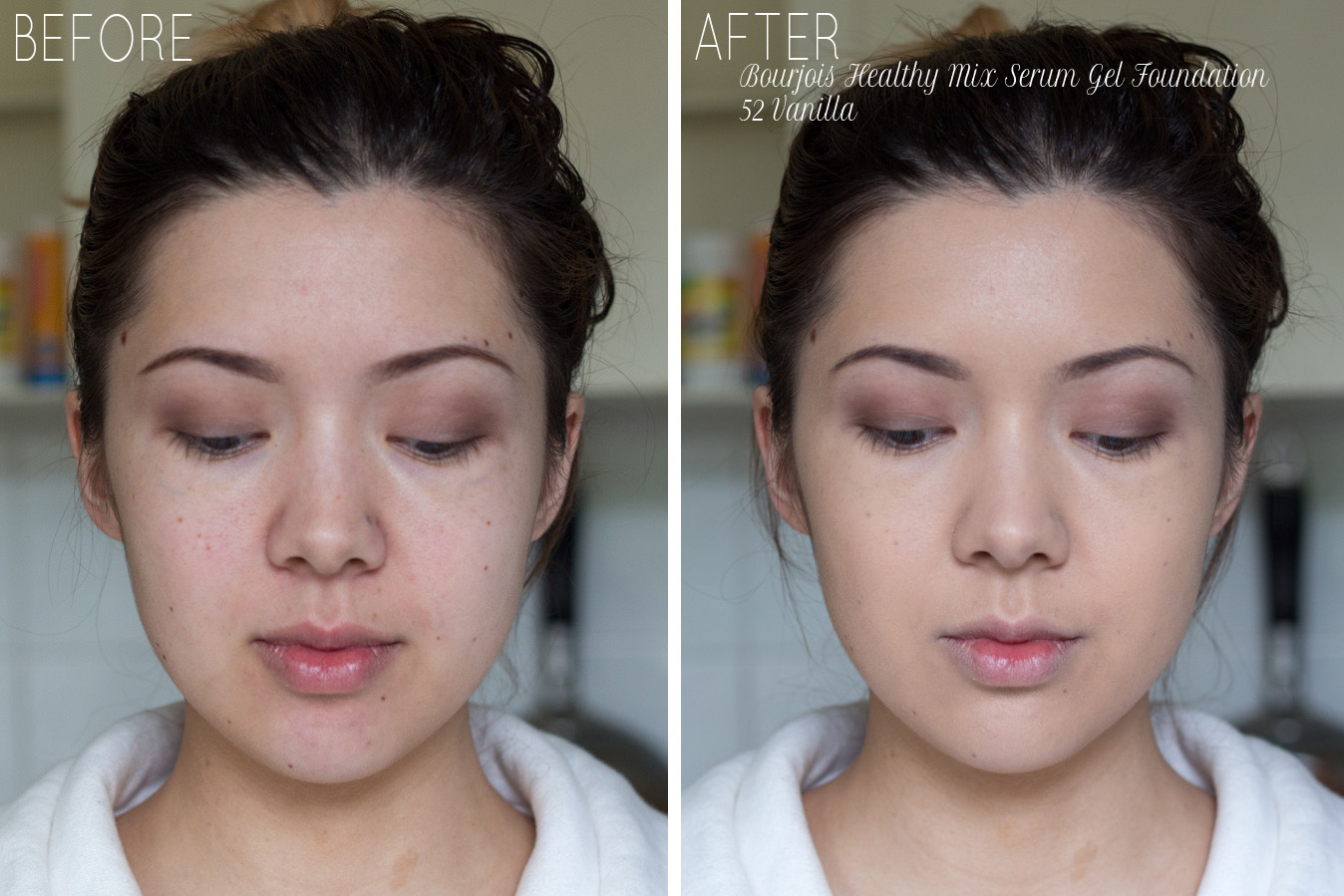 bourjois healthy mix serum gel foundation 52 vanilla review and swatches