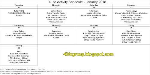 foto Jadual Aktiviti Bulanan Januari 2018 4Life Malaysia