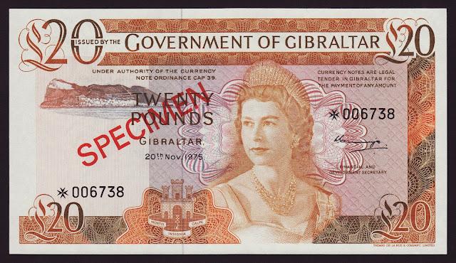Gibraltar Banknotes 20 Pounds banknote 1975 Queen Elizabeth II