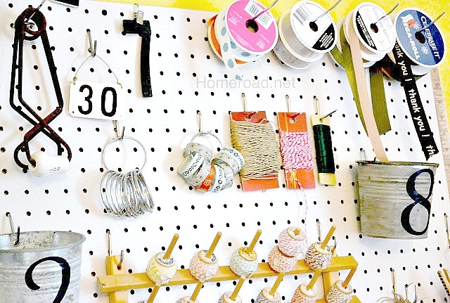 craft organization using pegboard