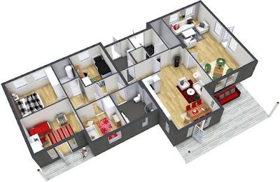 Tampilan 3D Desain Rumah Minimalis Dengan 3 Kamar Tidur Sederhana 5