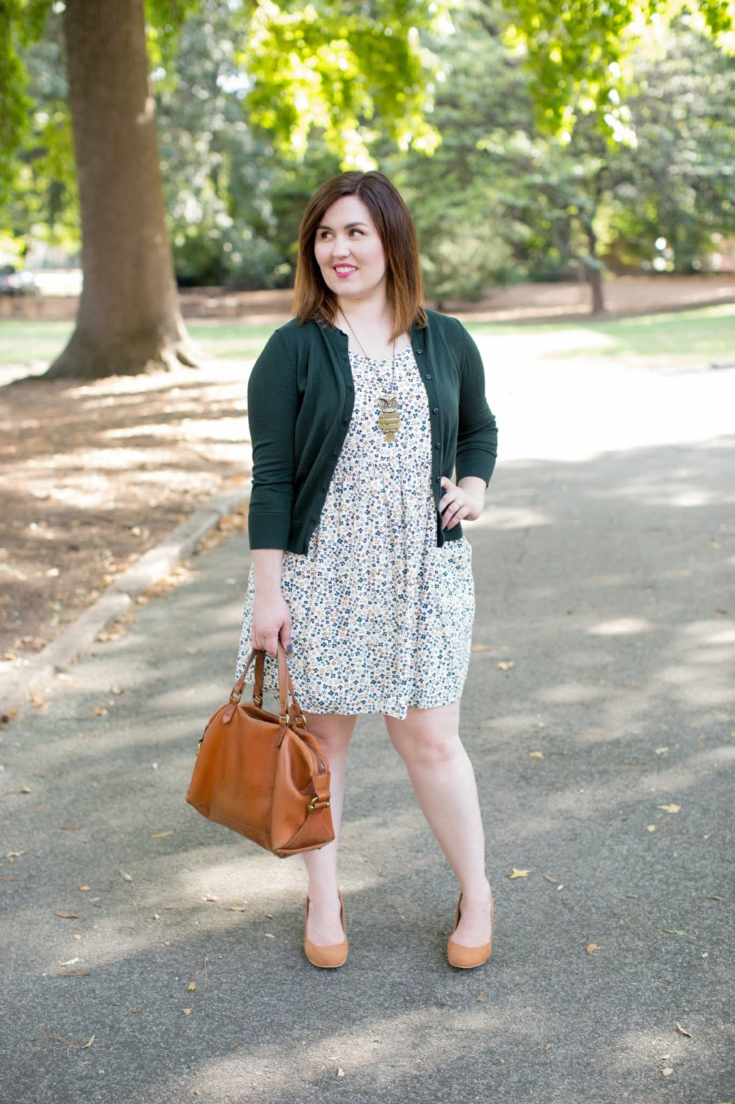 Rebecca Lately Old Navy Floral Dress Loft Cardigan Owl Necklace Madwell Kensington Forever 21 Heels