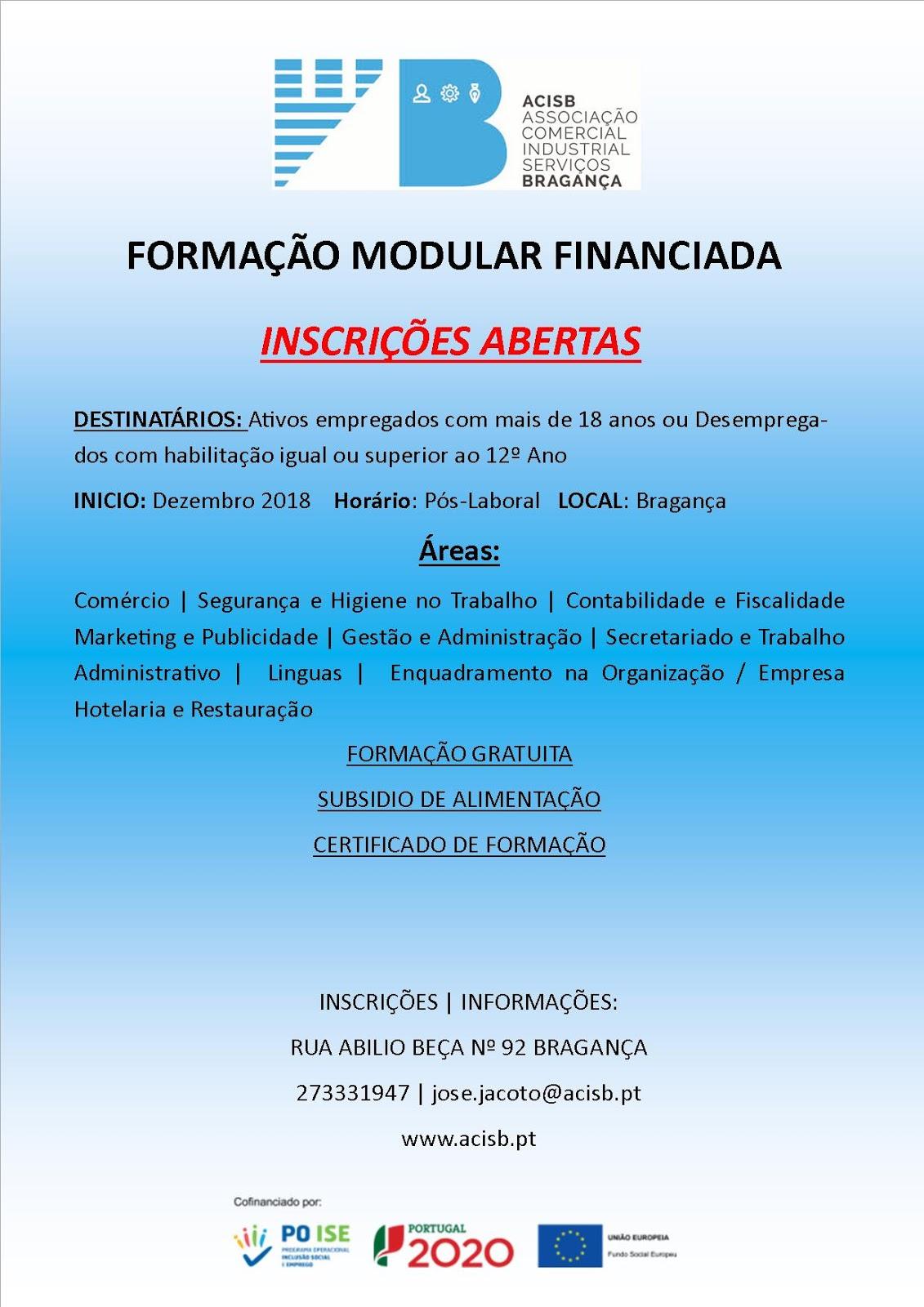 Formação financiada em Bragança