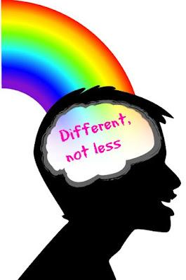 Rainbow brain black head text different not less