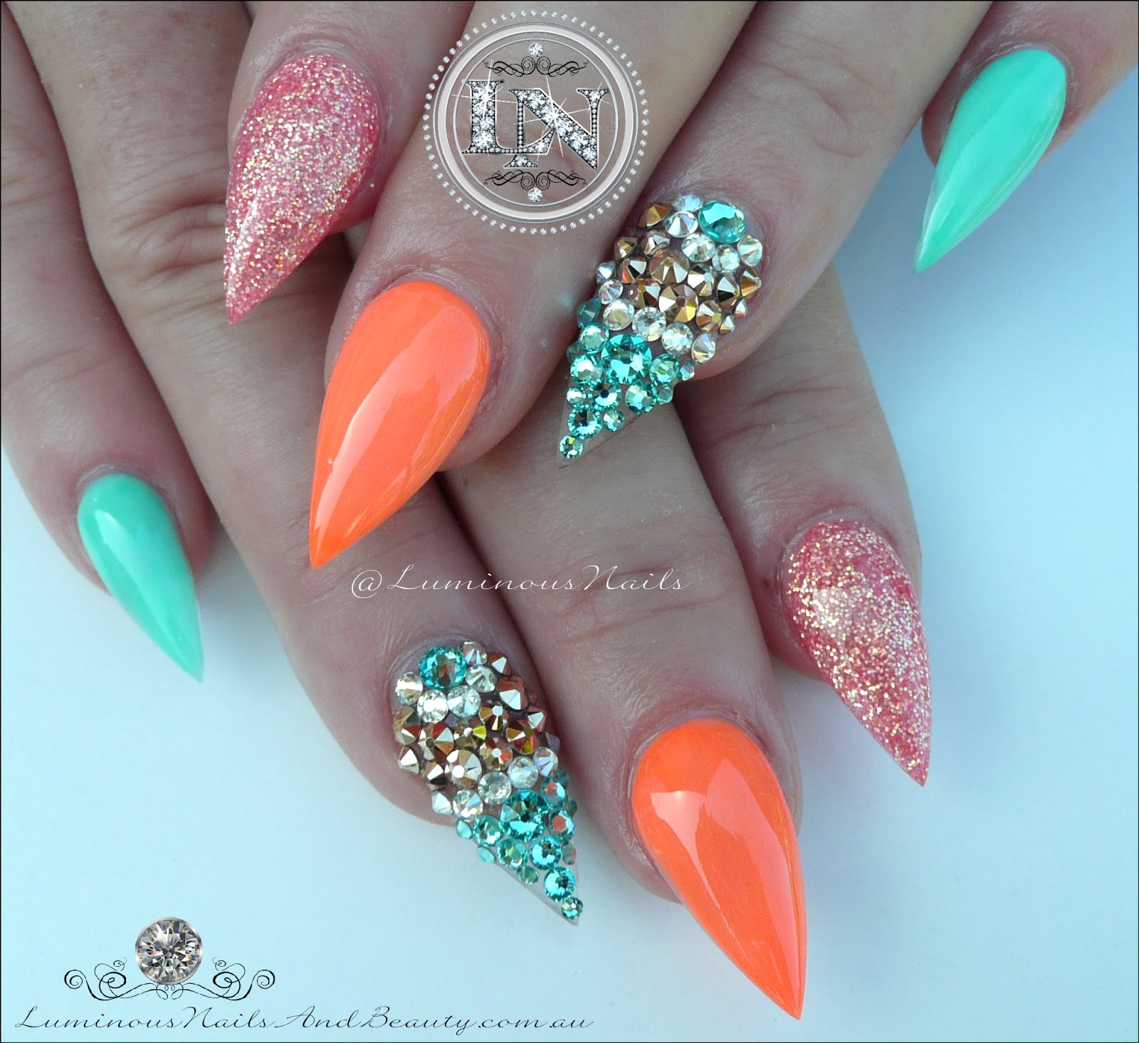Luminous Nails: Glamorous Nails... Inspired by @malishka702_nails ...