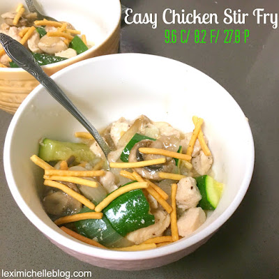 easy & super healthy chicken & veggie stir fry dish for dinner-- low carb diet friendly, macro counts included