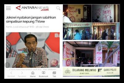 "Heboh PERSEKUSI, Masih Ingat Jokowi Nyatakan Jangan Salahkan Simpatisan Kepung TVone ""Salah Sendiri Manas-manasin"""
