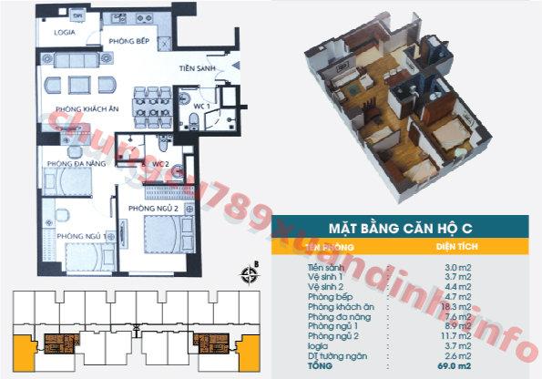 Thiết kế căn hộ C - Tòa CT2 - Diện tích 69m2 Chung cư 789 Xuân Đỉnh