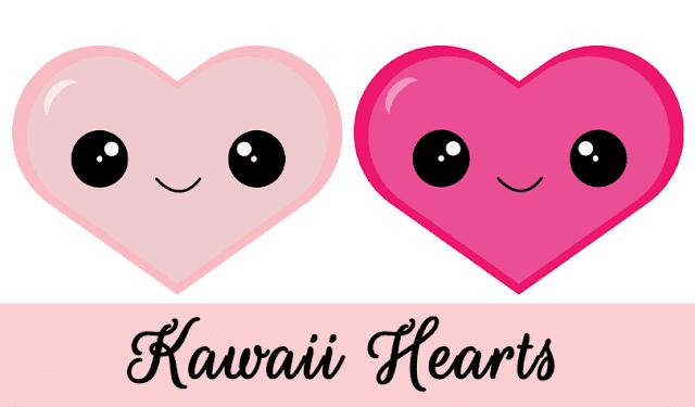 Valentine Kawaii Hearts: Free Clipart