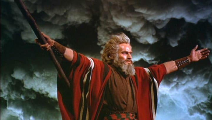 Cecil B. DeMille  The Ten Commandments, Charlton Heston as Moses parting the red sea