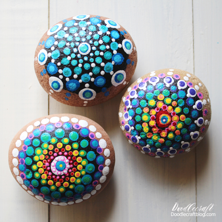 Dot Painted Mandala Rocks  Again, rocks are an easy gift to give. Add a little paint in bright colors and they are perfect. Cheapest paint is Plaid Apple Barrel Paint at Walmart, just 50 cents a bottle. Get a few colors and mix them to create more!