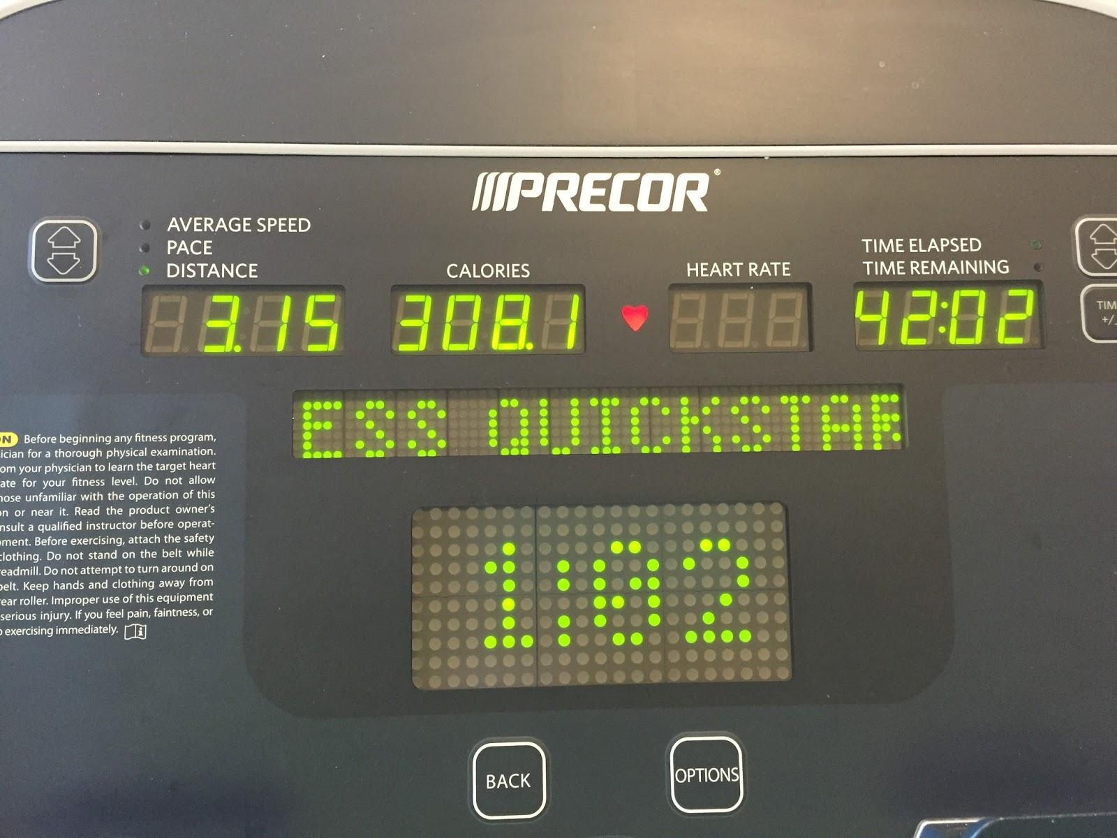 3.15 miles on the treadmill