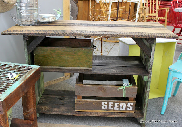 Beyond The Picket Fence Farmhouse Work Table - Reclaimed wood work table