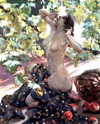 Desnudo en el jardín, Francisco Pons Arnau, Pintor español, Pintor Valenciano, Pintura Valenciana, Impresionismo Valenciano, Pintor Pons Arnau, Retratos de Pons Arnau