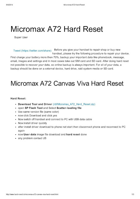 Micromax A72 Hard Reset Download eBook