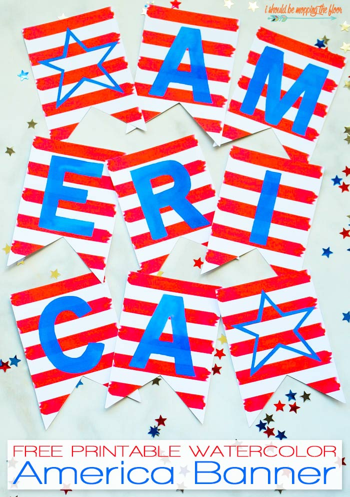 AMERICA Watercolor Banner