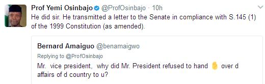 Osinbajo tweets