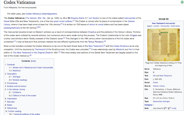 Codex Vaticanus From Wikipedia, the free encyclopedia