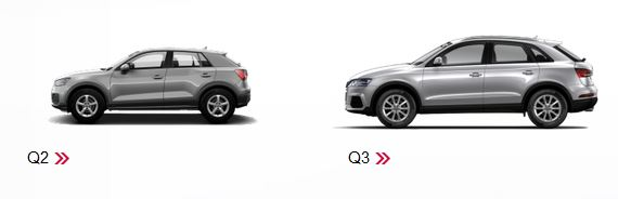 Audi Q2とQ3 サイドからの比較 大きさ画像